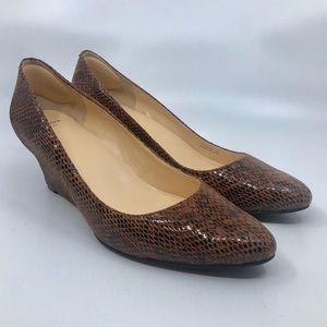 Cole Haan Womens Sz 10 B Brown Snake Wedge Heels